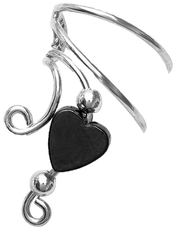 Hematite Heart & Beads Short Sterling Silver Ear Cuffs Earrings
