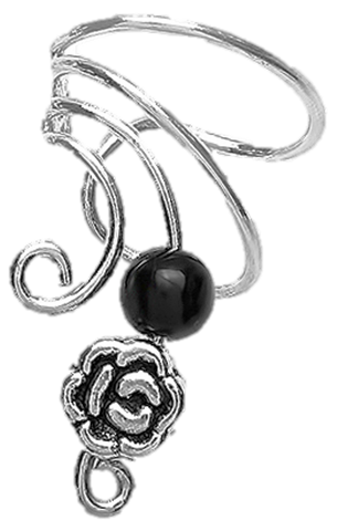Black Onyx & Pewter Rose Short Sterling Silver Ear Cuffs Earrings