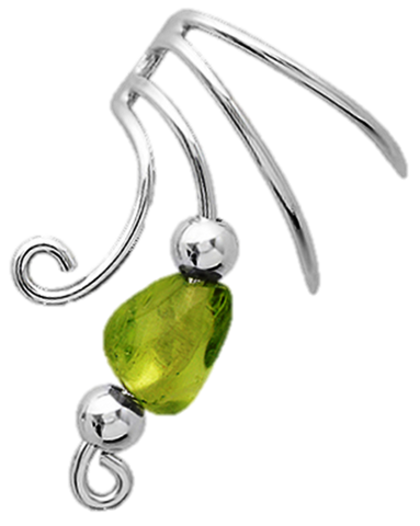 Peridot Nugget & Beads Short Sterling Silver Ear Cuff Earrings
