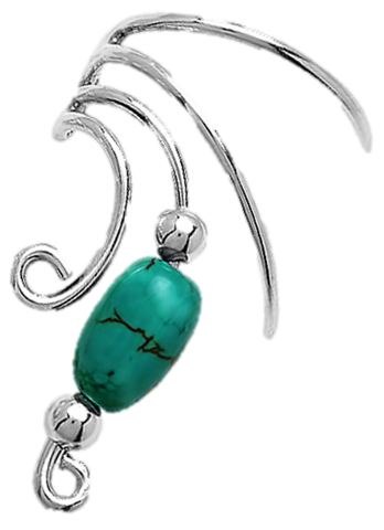 Genuine Turquoise Tube Bead Short Sterling Silver Ear Cuffs Earrings