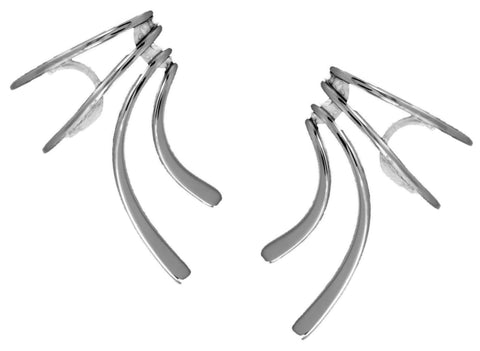 Classic Short Wave Ear Cuff Earring Non-Pierced Rhodium over Sterling Silver
