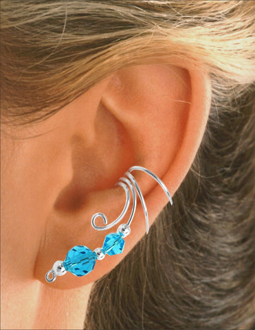 Blue Double Crystal Non-Pierced Long Sterling Silver Curly Q Wave Ear Cuff Earrings