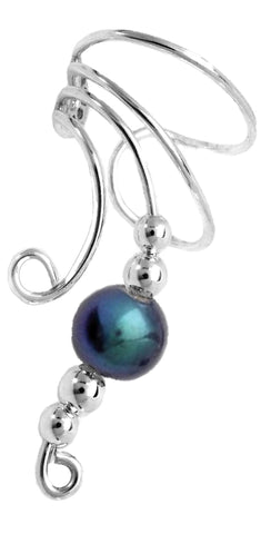 Long Round Peacock Pearl Sterling Silver Ear Cuff Earrings