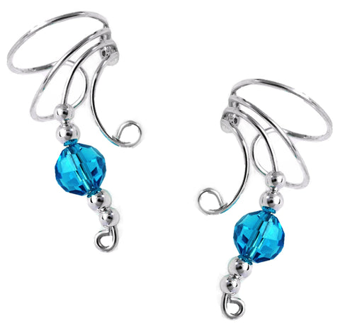Blue Crystal Ball Long Wave Ear Cuff Earrings Non-Pierced in Sterling Silver