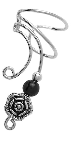 Small Pewter Rose with Black Onyx Accents Long Sterling Silver Ear Cuffs Earrings