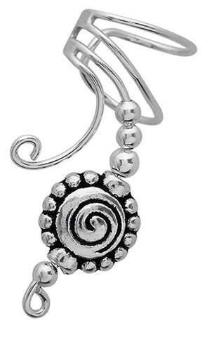 Pewter Beaded Spiral Ear Cuff Long Wave Sterling Silver Non-Pierced Earrings