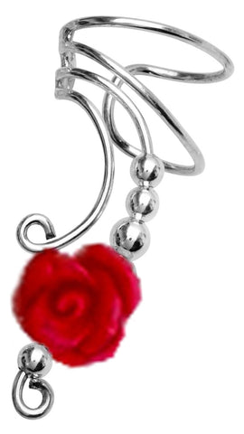 Long Red Rose Ear Cuff Earrings Non-Pierced in Sterling Silver
