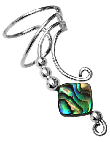 Abalone Square Mother of Pearl Long Sterling Silver Curly Q Wave Ear Cuff Earrings