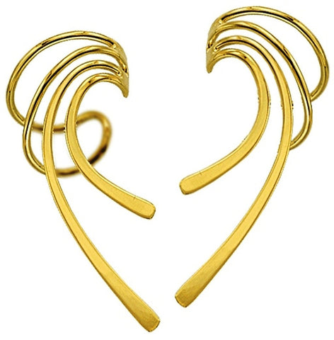 Beautifully Simple Long Wave Ear Cuff Earring Wraps / Jackets Gold Over Sterling Silver