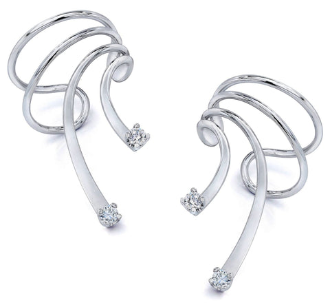 Cubic Zirconia Short Wave Ear Cuff Earrings Rhodium on Sterling Silver