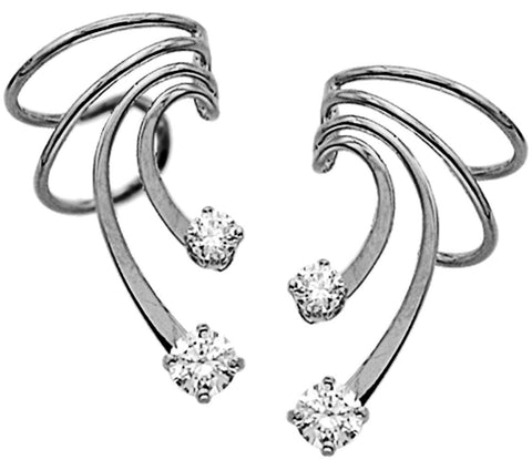 Large Cubic Zirconia Wave Short Sterling Silver Ear Cuffs Earrings