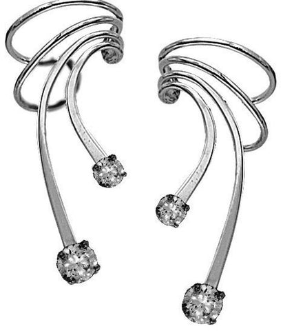 Ear Charms® Large Cubic Zirconia Long Wave Ear Cuff Non-pierced Earring Wraps in EZ Care Rhodium on Sterling Silver
