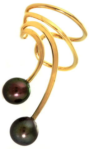 Black Cultured Pearls Short Gold Vermeil Ear Cuffs Earrings