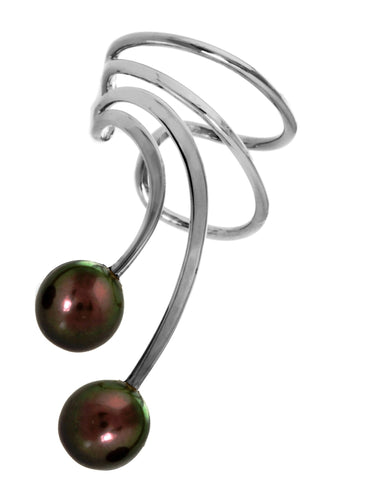 Black Cultured Pearls Short Sterling Silver Ear Cuffs Earrings