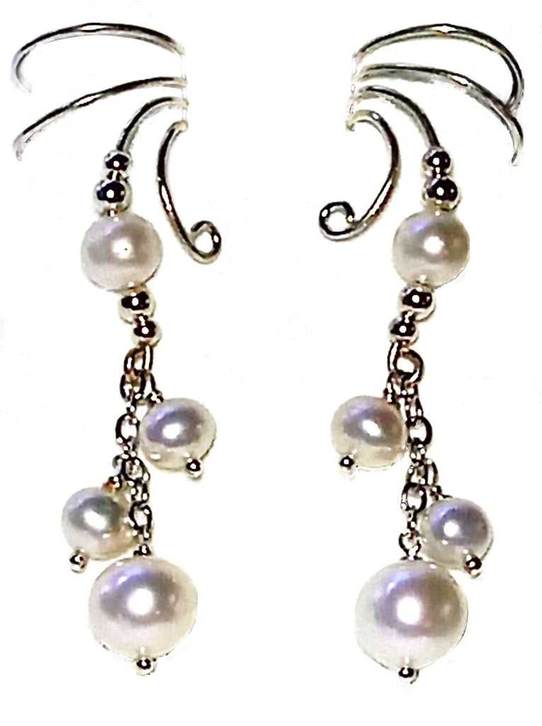 Wave Ear Cuff Non-pierced Earring Wraps with Dancing White Cultured Pearl Drop in Sterling