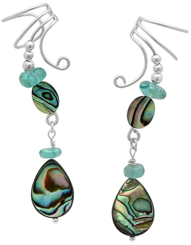 Beautiful Abalone Teardrop with Genuine Blue Apatite Ear Cuff Dangle Earring Wraps Sterling Silver
