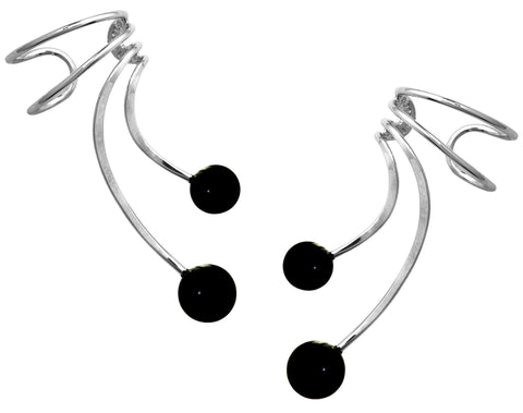 Non-pierced Ear Cuff Earring Wraps with Black Onyx Rhodium on Sterling Silver