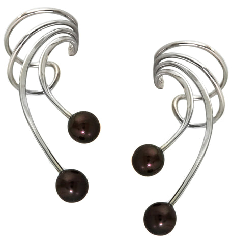 Black Cultured Pearls Long Sterling Silver Ear Cuffs Earrings