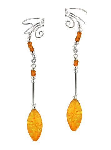 Amber 1.5 Inch Drop Non-Pierced Sterling Silver Dangle Swirl Ear Cuff Earrings