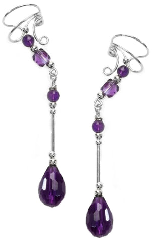 "Amethyst Briolette Non-Pierced 1.75"" Dangle Sterling Silver Wave Ear Cuff Earrings"