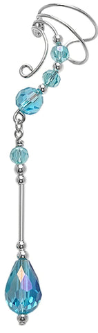 Blue Crystal Dangle Ear Cuff Earring Wraps Non-Pierced Sterling Silver