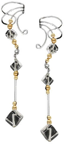Clear Quartz Cube Silver & Gold Beaded Dangle Non-Pierced Ear Cuff Earrings