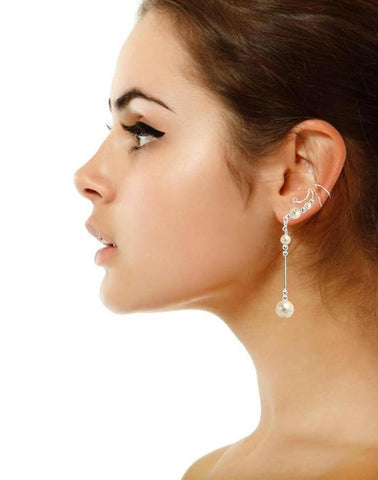 White Cultured Pearl Non-Pierced Sterling Silver Dangle Swirl Wave Ear Cuff Earrings