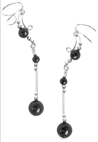 Hematite GemBall Dangle Ear Cuff Earrings Sterling Non-Pierced