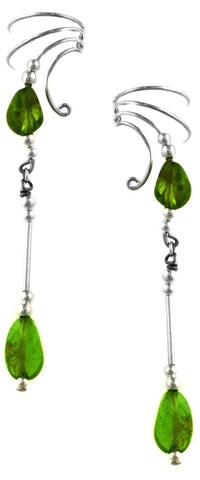 Peridot Dangle Sterling Silver Ear Cuffs Earrings