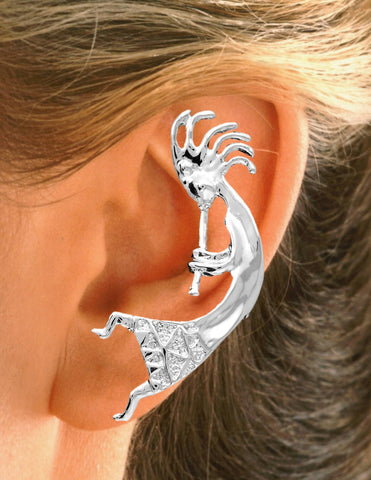 Large Kokopelli Non-Pierced Sterling Silver Ear Cuff Earrings