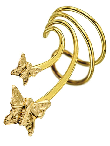 Double Butterfly Short Wave Ear Cuff Earrings Non-Pierced Gold over Sterling