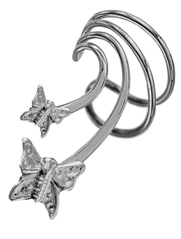 Butterflies Short Sterling Silver Ear Cuffs Earrings