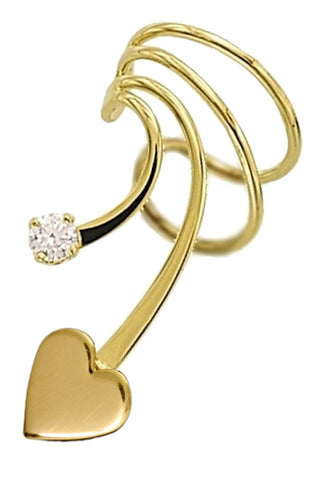 Small Heart with CZ Short Ear Cuffs Earring Cartilage Wraps in Gold on Sterling Silver