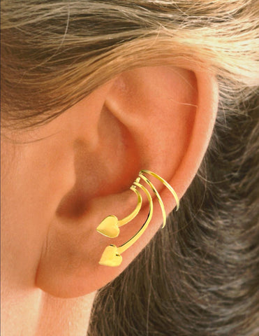 Double Heart Short Wave Ear Cuff Earring Wraps Gold on Sterling Silver