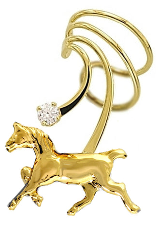 Horse & Cubic Zirconia Short Gold Vermeil Ear Cuffs Earrings