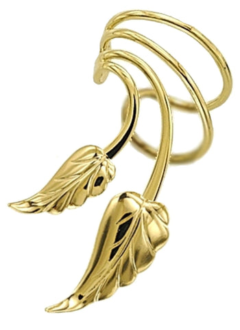 Leaves Short Wave Short Gold Vermeil Ear Cuffs Earrings