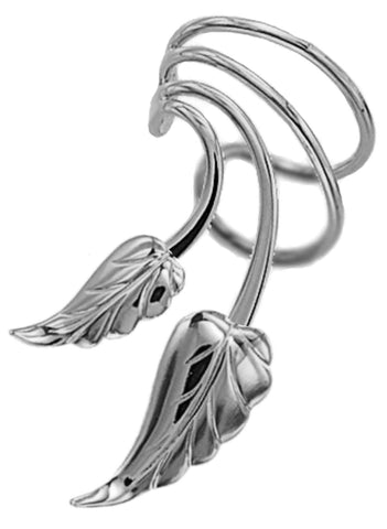 Leaves Short Wave Short Sterling Silver Ear Cuffs Earrings