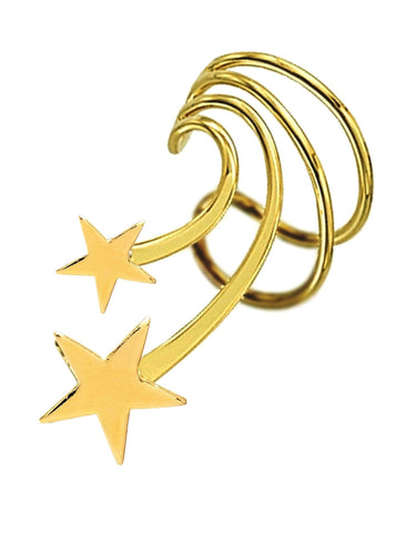 Stars Short Gold Vermeil Ear Cuffs Earrings