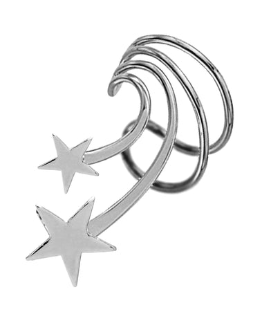 Stars Short Sterling Silver Ear Cuffs Earrings