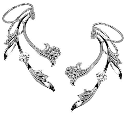 Flower, Leaf & CZ Long Rhodium over Sterling Silver Ear Cuff Earrings