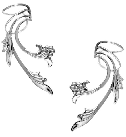 Flower & Leaf Sterling Silver Long Wave Ear Cuffs Earrings
