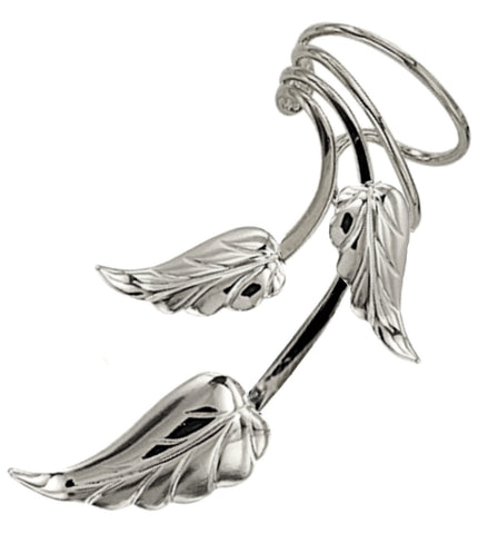 Three Leaf Long Wave™ Ear Cuff Non-pierced Earring Wraps Rhodium on Sterling Silver