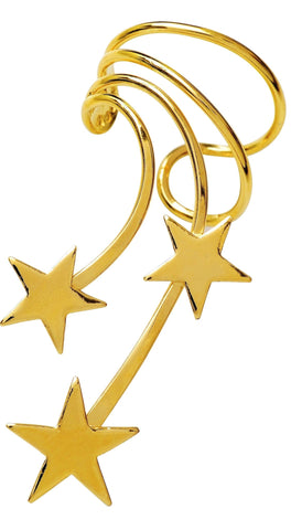 Shooting Star Gold on Silver Long Wave Ear Cuff Non-Pierced Star Wrap Earrings