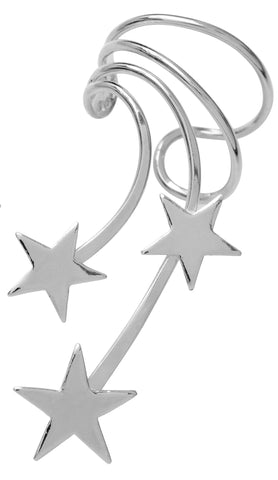 Shooting Star Rhodium on Silver Non-Pierced Long Wave 3 Star Ear Cuff Earrings