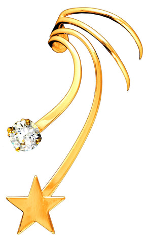 Stars and CZ Non-Pierced Gold on Silver Long Wave Ear Cuff Earrings