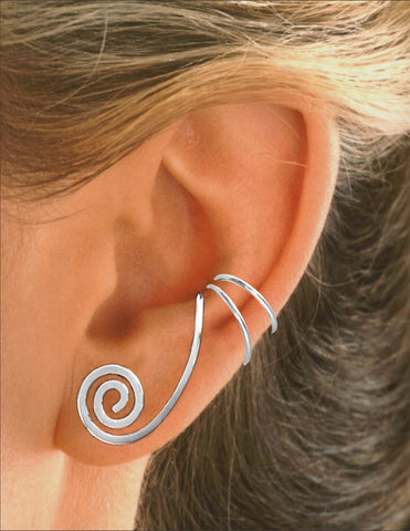 Grecian Curl Top Converter Sterling Silver Ear Cuffs Earrings