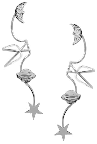 'ClingOn Galaxy' Full Ear Spray Ear Cuff Earring Rhodium over Sterling Silver