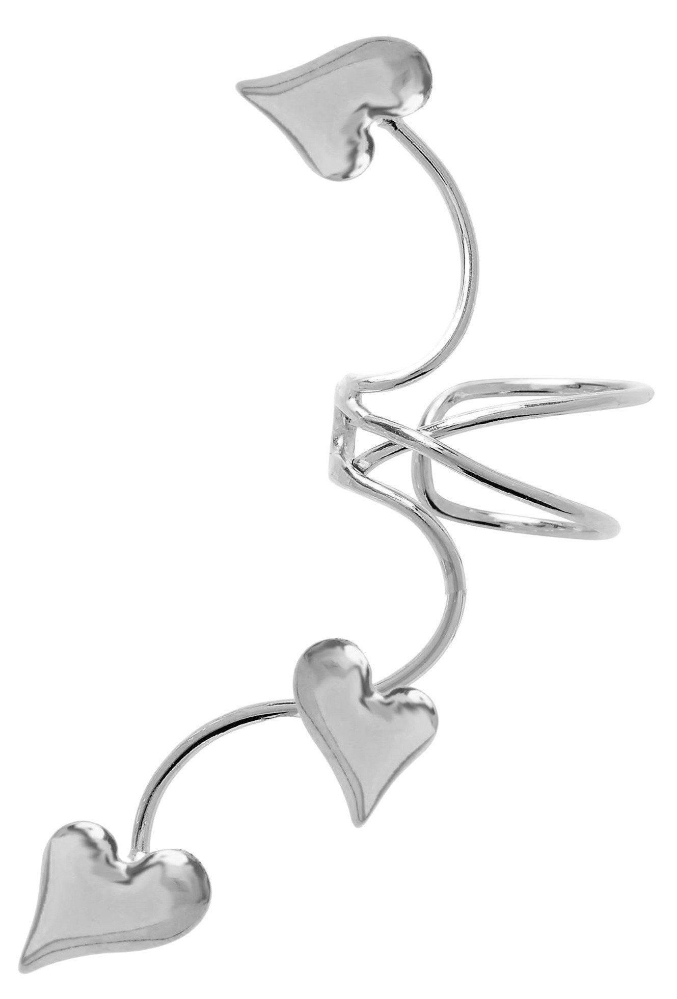 Ear Cuff 3 Puffed Hearts /& CZ Non-pierced Long Wave Earring Wraps in Gold or Rhodium Over Sterling Silver