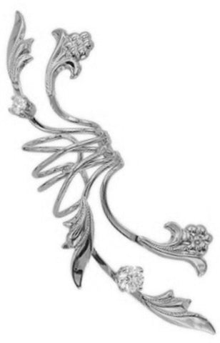 'Fleur de Lei' Full Ear Cuff Earring Wraps Non-Pierced, Rhodium Over Sterling Silver