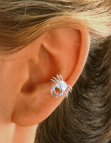 Crab Sterling Silver Ear Cuffs Earrings